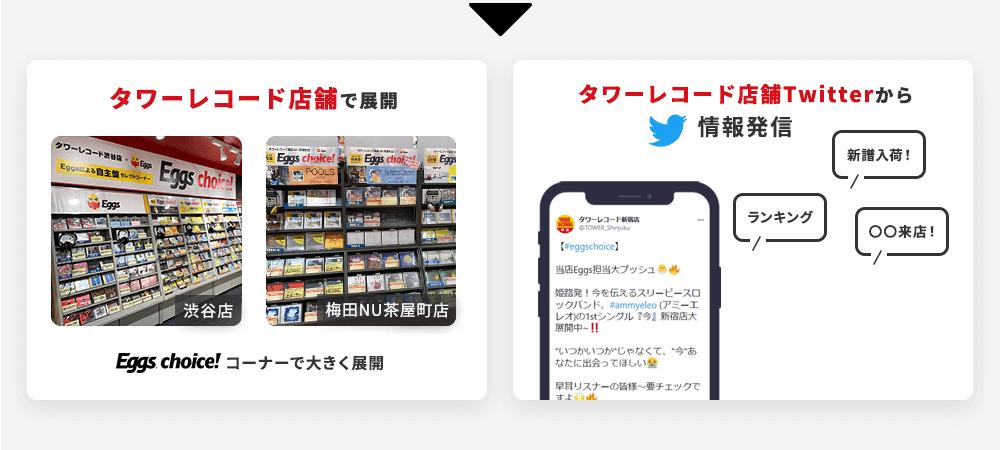 タワーレコード店舗(渋谷店、梅田店など)のEggs choice!コーナーで大きく展開。/タワーレコード店舗Twitterから、ランキング・新譜入荷・来店の情報発信。